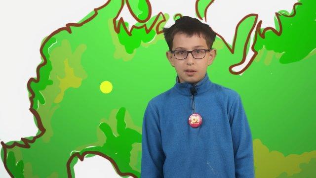 Матвей рассказывает о погоде в телестудии «О!» на фестивале «Политех»