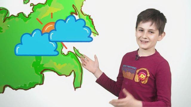 Илья рассказывает о погоде в телестудии «О!» на фестивале «Политех»