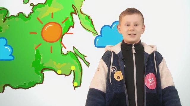 Арсений рассказывает о погоде в телестудии «О!» на фестивале «Политех»
