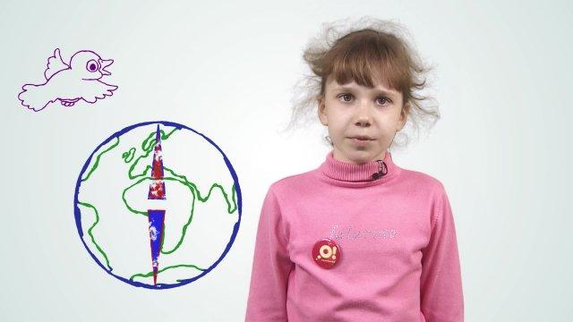 Арина рассказывает про перемену магнитных полей в телестудии «О!» на фестивале «Политех»