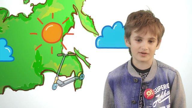 Генри рассказывает о погоде в телестудии «О!» на фестивале «Политех»