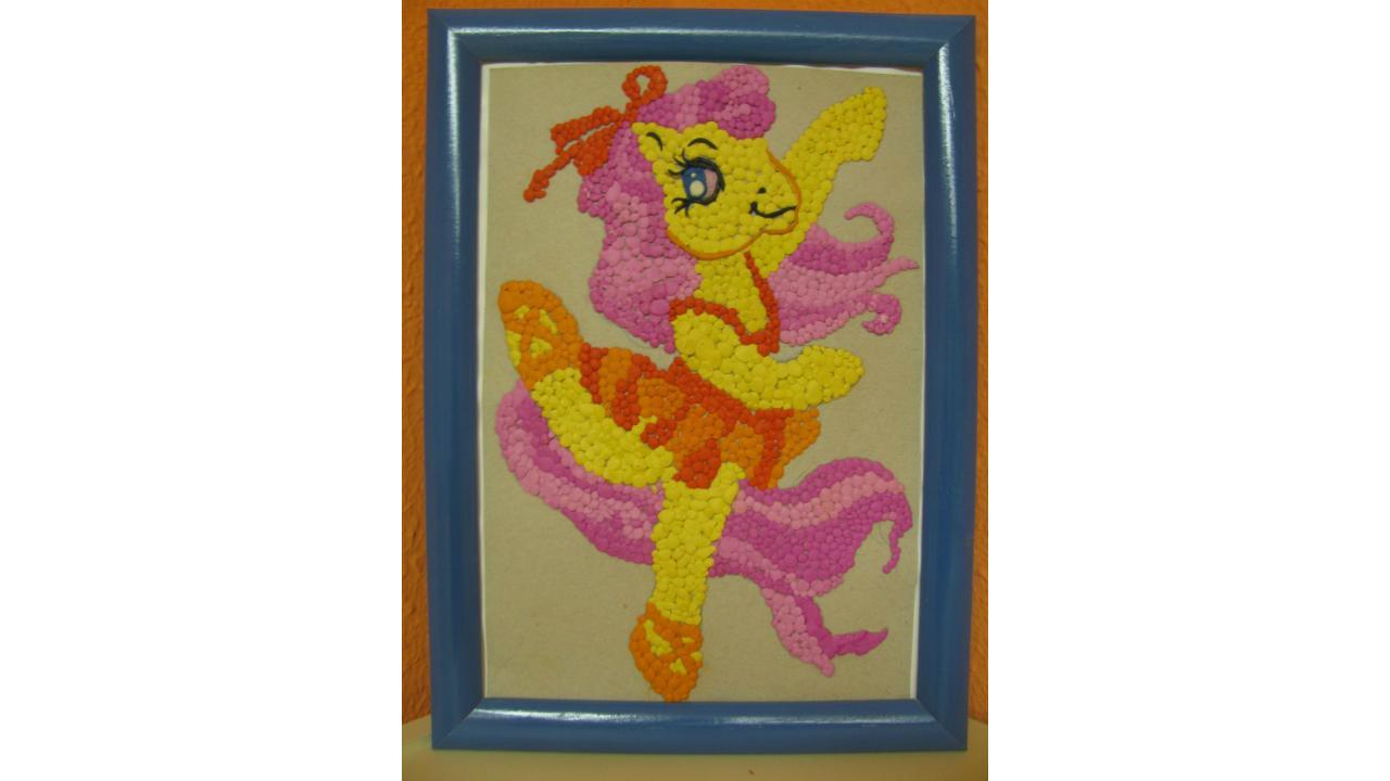 «Яркая мозаика»: пони, «разукрашенный» пластилином.