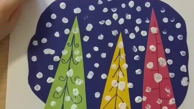 Мастер-класс: открытка с заснеженными деревьями